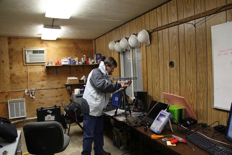 Preparing a test antenna.
