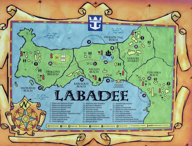 A map of Labadee-Haitian resort owned by Royal Caribbean