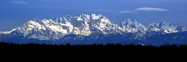 Olympic Mountains Blue 36x12