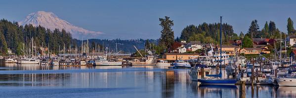 Gig Harbor Marina and Mountain12x36-Edit