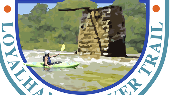 Detail of kayaker looking at bridge pier. Second Draft, Loyalhanna Water Trail Map Logo Working out compositional elements and concept with client. I favor overlapping elements in logo design.