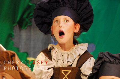 young gril with animated expression in school play