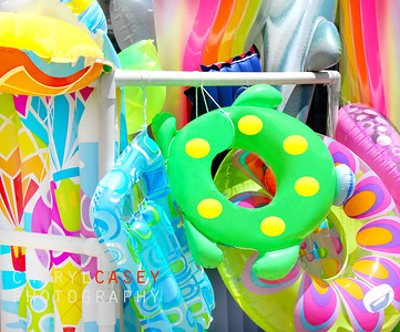 Colorful collection of inflatable beach toys