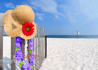 Straw hat and flower lei on beach sand dune fence by ocean
