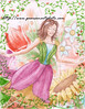 A fairy flys away from a scene of flowers with a peaceful look on her face
