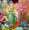 A fairy stands in a magical garden, surrounded by fantastic flowers and creatures