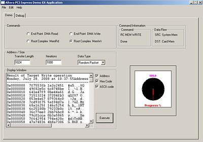 Altera PCIe S2 dev card GUI App