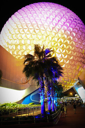 """Spaceship Earth"" at Night, EPCOT, Orlando, FL"