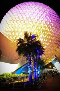 """Spaceship Earth"" at Night, EPCOT, Orlando, FL"