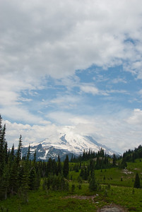 The view of Mt. Rainier along the Naches Loop trail.