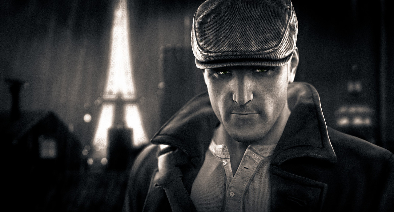 <center><h3>Sean Devlin portrait | The Saboteur 2009 (EA-360/PS3/PC) 2009</h3></center> <br> ● Rendered and lit using Mental Ray via Softimage XSI<br> ● Background is an in-game screenshot with appropriate FOV<br> ● Grading and framing done in Adobe Lightroom, comped and touch-up in Photoshop<br><br> Additional Breakdown:<br> ▪ Eyes painted by Imran Sheikh ▪ Facial pose by Benjamin Liu ▪ Sean character geo is based on the game asset