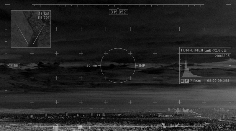 <center><b>Click on picture to play<br>Motion graphics UI overlayed on top of a time-lapse of Los Angeles (Personal Project) 2008</b></center> <br>  ● Time-lapse shot with an IR modified Nikon D80 from Mt. Hollywood<br>  ● Motion graphics done in After Effects.  No UI elements/animation are random.  Heading, pitch, time, FOV are real values.<br>  ● Histogram(screen right) is accurate to picture.  Generated through script<br>  ● UI designed in Photoshop<br><br> All content created by me except the music and satellite image in the top left.