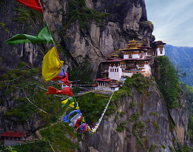 "It took us 3 hours to walk up the mountain trails from 7,000 ft elevation to 10,000 ft. to capture Bhutan's most sacred monastery , the ""Tiger's Nest"""
