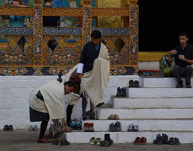 Before entering a Buddhist temple you must remove your shoes. Judi got this shot in Bhutan.