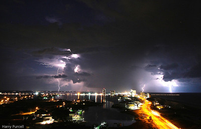 Living at Pensacola Beach provides us a great view of nature. And sometimes it is spectacular. On this evening my camera captured over a 100 lightening strikes. These are 10 miles away, close to Navarre, Fl.