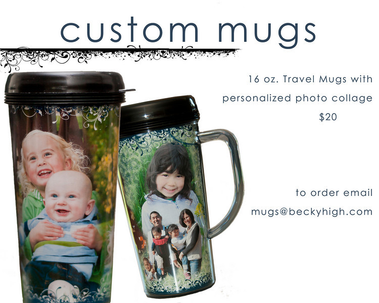 Fully customized 16 oz travel mug with a personalized photo collage. Submit 3-5 photos for the most adorable coffee mug you've ever seen. $20