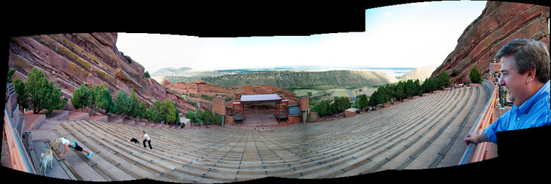 I carried my small and lightweight D70 to Denver and visited Red Rocks Amphitheatre for the first time.  Many musical greats played there -- the Beatles, John Denver... this pano is a series of photos taken by the D70 and stitched together in Photoshop. Yes, I, too was mesmerized by the young lady doing push-ups at the lower left. She had an olympic-caliber physique.  I tried not to stare.