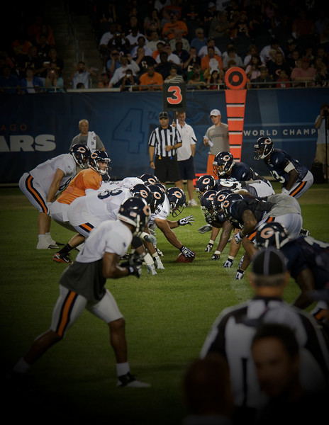 Chicago Bears Family Night at Solider Field in August 2010.  Cutler lines up against a Bears defense.