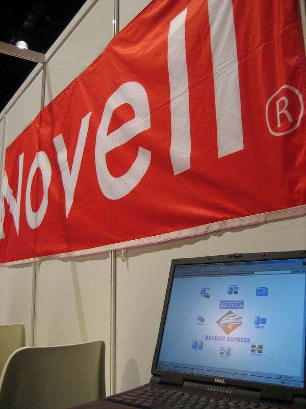 Novell flag behind Teamsoft's demo laptop