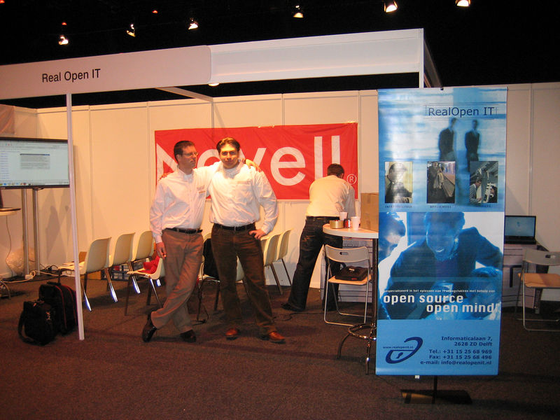 Ronald and Albert-Jan at our stand, getting everything ready