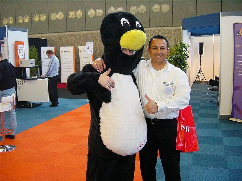 Paul and Tux, the Linux penguin