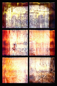"18. Lindisfarne, Northumberland UK, door to a fisherman's hut on the Ouse, site of the great Viking raid of June 793. On this spot: it happened here. Part of the chorographic series exploring ""mediawork"" in the documentation of site: framing, surface and materiality, resolution, and the performance of document. Degraded Polaroid film."