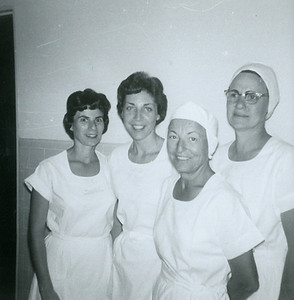 Lorraine, Betty Mack, 'Shorty' Salisbury, Katie Stretch. Santa Rosa Memorial Hospital in the late 1950s.