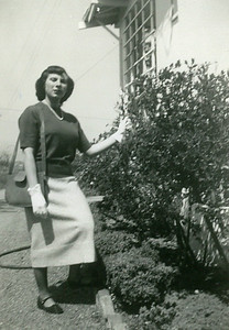 Lorraine on the east side of the house. Early 50s.