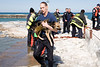 This dog was rescued after his master had been pulled out of the water in his attempt to rescue the animal himself. After the man was rescued the the Squad 1 member went back and got the dog, who at first swam away from him but was scared back by the low flying helicopter. Once he was in the rescuer's arms he did not struggle.
