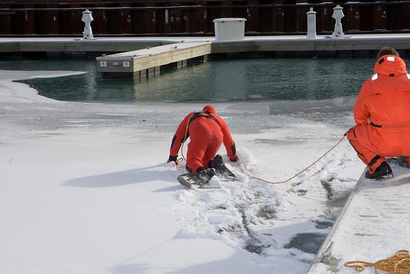 Squad 1 ice rescue drill.
