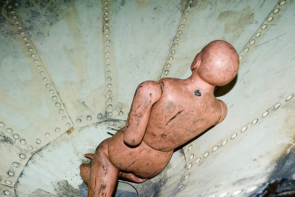 """Victim""<br /> A very unwieldy 175 lb. mannequin, with floppy arms and legs, at the bottom of a silo used in Special Operations confined space rescue class for the CFD Squad firemen conducted by the U.of I. Fire Service Institute April 10-14, '06."