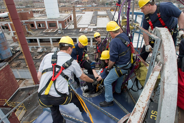 Bringin' 'em up<br /> CFD Squad jocks hauling up one of their number from inside a 60 ft. silo during Confined Space Rescue class given by IFSI 4/10-14/06 (photo Tony Budvaitis Squad 1)