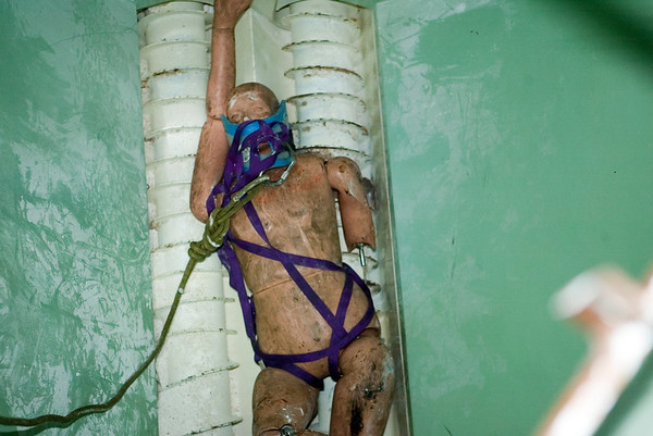 175 lb. mannequin partially prepared for ascent from bottom of a silo at class offered by the University of Illinois Fire Service Academy.