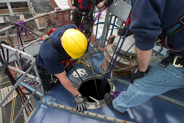 View from the top<br /> of 60 ft. sugar silo at confined space rescue drill as part of a class conducted by Illinois Fire Service Institute for CFD Special Ops personnel (Squads 1, 2, 5, 7 (photo by Tony Budvaitis, Squad 1)