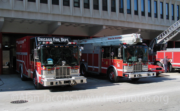 """Some"" of the vehicles at District 1, the largest firehouse in Illinois."