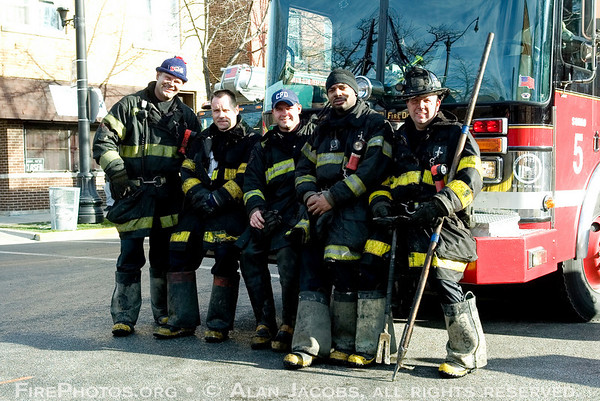 Squad 5 firemen after still-alarm on South Side of Chicago, (l-r) Brain McCardle, 5th District relief Lt. Will Tresek, Sq. 5: Brian Hurly, Sun Haynes, and  Steve Groszek.