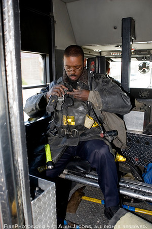 Squad 5 fireman Jamar Sullivan in the Box, Squad 5's lead vehicle.