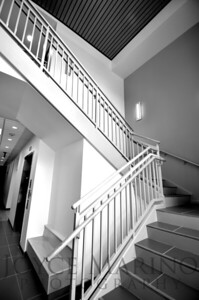 B/W Stairwell in Calvert School, (LS) # DSC_7105  NO CHARGE FOR THIS VERSION.
