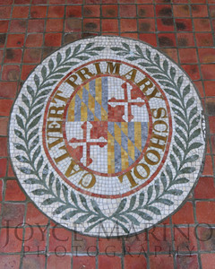 Calvert School seal in LS (vertical), # DSC_0450  NO CHARGE FOR THIS VERTICAL CROP IMAGE.