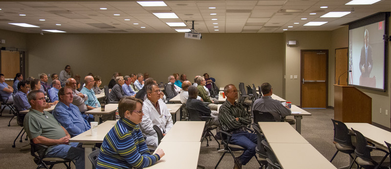 Employees of GIPSA's National Grain Center, Kansas City, MO, participated in a meeting with Sec. Tom Vilsack by video teleconference on October 23, 2013. USDA photo by David Funk.
