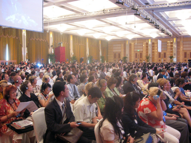 """Opening session, 18th World Congress, International Federation of Translators--the keynote speaker, former Chinese ambassador to France, Wu Jianmin, saw fit to go on at length about """"arrogance"""" (read: the West) by insisting that any nation (read: China) develop in a particular manner (read: human rights).  He cited France and the United States as having only recently giving the vote to women and blacks (!) and that the situation in Sudan is multi-faceted--that both sides have committed atrocities.  Whew!"""