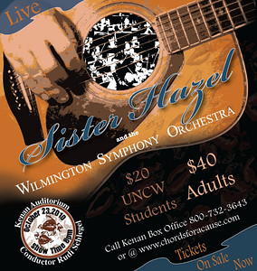 Chords for a Cause, Sister Hazel concert. This was a magazine ad in Encore Magazine in Wilmington North Carolina created for the benefit concert by Sister Hazel and the Wilmington Symphony Orchestra at the Kenan Auditorium.  I was responsible for creating all promotional artwork for concert and marketing.