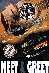 Chords for a Cause, Sister Hazel concert. This was the meet and greet backstage pass created for the benefit concert by Sister Hazel and the Wilmington Symphony Orchestra at the Kenan Auditorium.  I was responsible for creating all promotional artwork for concert and marketing.