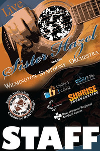 Chords for a Cause, Sister Hazel concert. This was the staff backstage passes created for the benefit concert by Sister Hazel and the Wilmington Symphony Orchestra at the Kenan Auditorium.  I was responsible for creating all promotional artwork for concert and marketing.