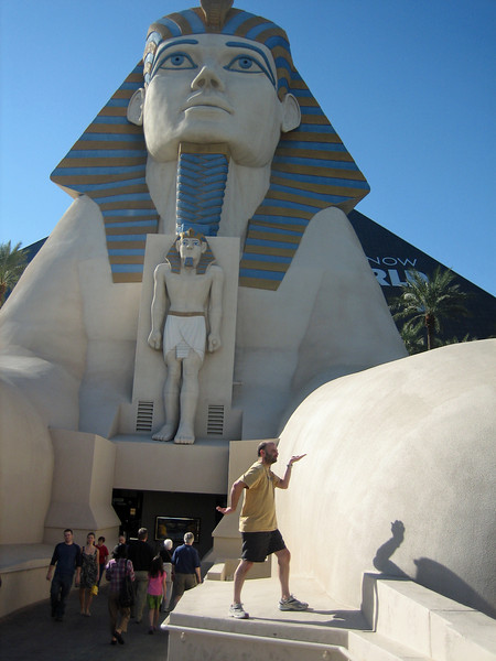 Walking like an Egyptian in front of Luxor's tram entrance