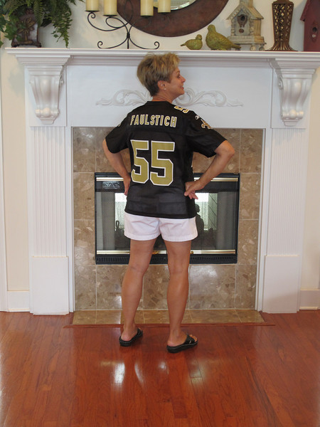 Mom sporting her Saints jersey (courtesy of Shay)