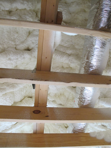 """The very latest in climate control. A 5 ton and a 3.5 ton work to cool the house. There is no insulation on the interior of the house. Spray foam at the roof (and within the concrete/styrofoam walls.) That's it. Even the attic is """"air conditioned."""""""