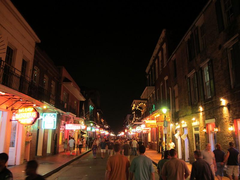 Bourbon Street like every one's seen it a hundred times.