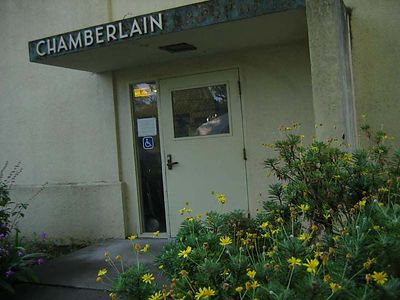 Main entrance to laboratory - in the Chamberlain Building - sign used to say Chamberlain Hospital