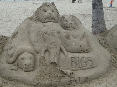sand sculpture by the Indian Ocean